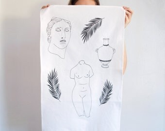 Art and Artifacts Tea Towel // Hostess Gift // Gift for Art History Lover // Ancient Greek Sculpture // Black and White Illustration