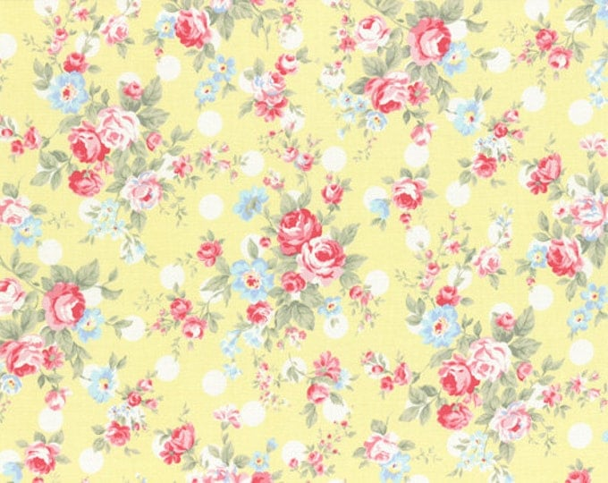 Princess Rose Fabric by Lecien - Roses & Polka Dots L31265-50 Yellow