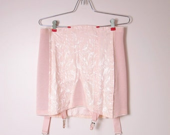1940s Pink Satin Corset Girdle Strouse Adler Co Size L Deadstock
