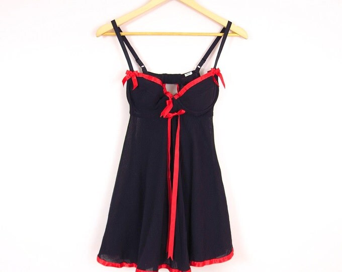 Black Babydoll Nightie with Red Satin Bows S