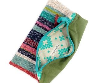 Isabelle | Modern Woven Foldover Bag | Handwoven Women's Envelope Purse | Zipped Pastel Evening Bag | Woven Cotton Bridesmaid Clutch