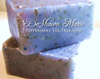 SOAP- Peppermint Tea Tree Soap, Vegan Soap, Cold Process Soap, Christmas Gift, Birthday Gift, Soap for Men, Father's Day Gift, Soap Favors
