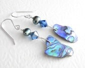 Blue Paua Shell Earrings, Peacock Pearl Jewelry, Natural Abalone & Sapphire Crystal