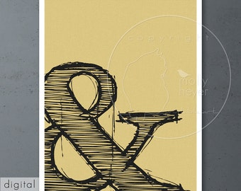 Charcoal Ampersand Print Mustard Yellow Texture Black Typography Printable Letter Art Grunge Font Design Office Decor Writer's Gift Download