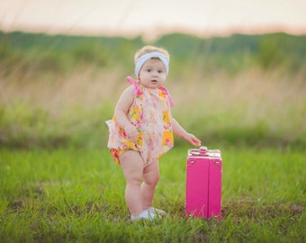 Girls Romper - playsuit -  Baby romper - BOHO romper - Bohemian romper -flower romper- coming home outfit - baby girl romper - ruffle romper