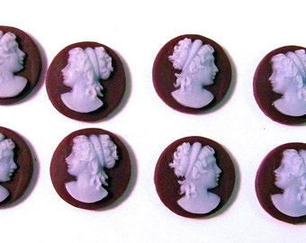 8 Victorian Lady 14 mm Round Resin Cameos