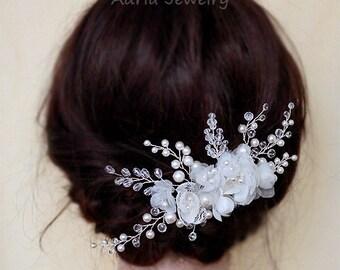 Flower Wedding Hair Piece, Flower Headpiece, Pure Silk Flower Hair Comb for Wedding, Bridal hair combs Gold Wedding Hair Accessory T15122108