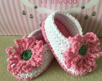 Pink Flower Slippers, Newborn Booties, Toddler Slippers, Pink Slippers, Baby Shoes, Ballet Slippers, Baby Shower Gift