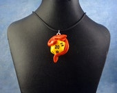 Red and Yellow Dicekeeper Dragon Necklace - D20 Pendant