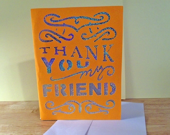 OOAK  Friendly Thank You Blank Note Card