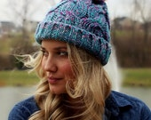 Slouchy Knit Hat with Faux Fur Pom Pom | Teal, Purple + Magenta with Coral Pink Winter Cap