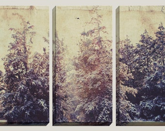 Giclee, Large Canvas Art, 3 Panels, Pine Trees, Winter Art, Triptych, Home Decor, Office, Room Decor, Fall Art, Fall Decor, READY TO HANG