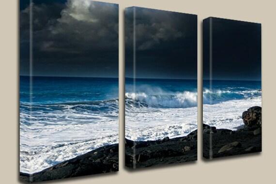 Lava, Ocean, Black Sand Beach, Storm Photography, Coastline, Journey, Canvas Art, Clouds, Water, Volcano, Hawaii, Sky, Triptych