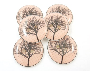 """6 Handmade Tree Buttons.  Pink Tree Sewing Buttons.  3/4"""" or 20 mm Round."""