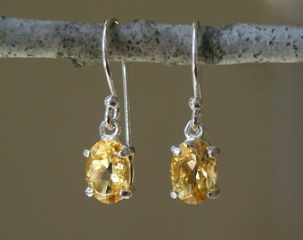 Oval Citrine Earrings - Yellow Gemstone - Dainty Little Earrings - Faceted - November Birthstone – Prong Set – Dangle - Sterling Silver