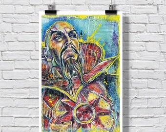 "12"" x 18"" Poster Print - Ming the Merciless - pop art Flash Gordon villain comic strip"