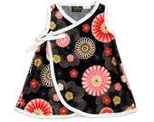 Blossom Dress -  Pink Girl Dress -  Asian Baby Clothes - Flower Girl Dress-  Baby Wrap -  Kimono Dress - Girl Dress nb, 6m, 12m, 18m