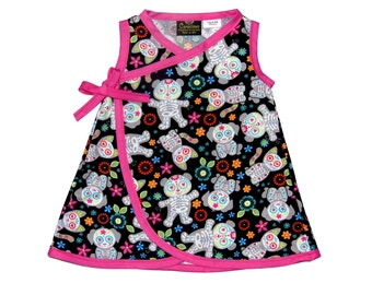 Skeleton Clothes - Girls Dress - Punk Rock - Animal Skeleton - Pink Dress - Day of the Dead - Dia De Los Muertos - Toddler Dress - 2t - 3t