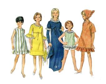 1960s Dress Pattern Beach Shift Summer Top Maxi Party Dress Kerchief Butterick 4000 Bust 32 Petite Women Girls Vintage Sewing Pattern