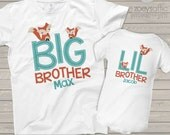 Big brother little brother or any brother sister combination matching woodland fox sibling Tshirt set