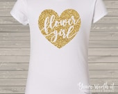Flower girl shirt - glitter heart flower girl - choose your glitter color GIRLS CUT shirt