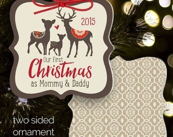 First Christmas mommy and daddy ornament - keepsake family ornament