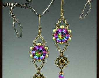Beaded, Beadwoven, Beadwork, Swarovski Crystal Flower Earrings
