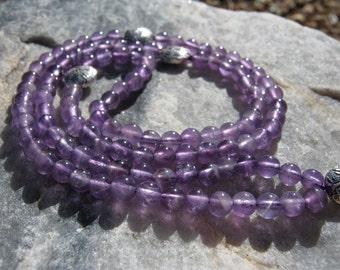 Amethyst Mala Prayer Beads Rosary - Purple