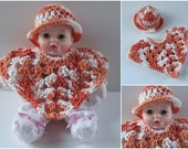 Huggums Doll Poncho and Brimmed Hat,  Orange and White 2 Piece Set, Fits Huggums Baby Doll, Cotton Doll Clothes, Crochet Doll Poncho and Hat