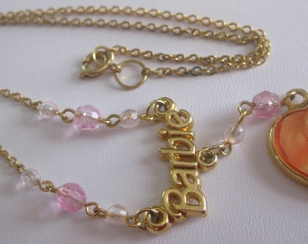 Blonde Barbie Photo Nameplate Heart Necklace Vintage Girl's Free Shipping