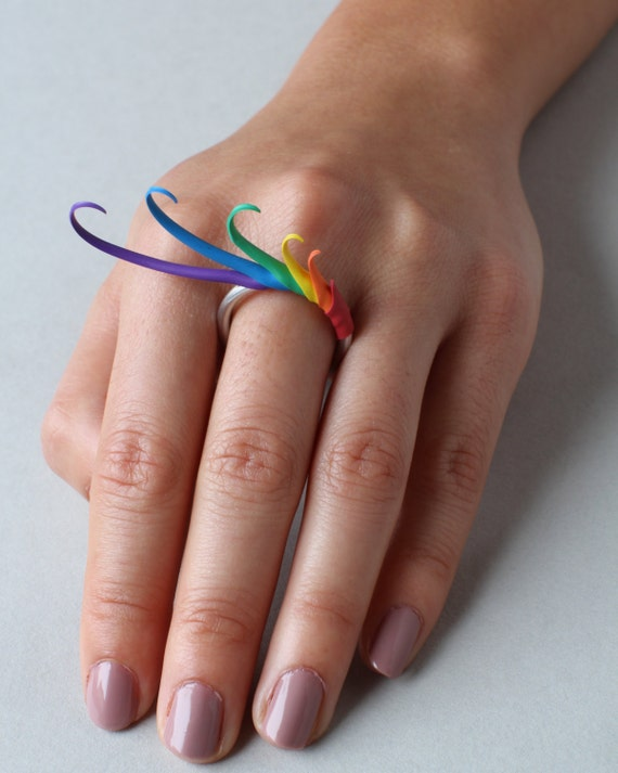 Rainbow Multiplume Ring
