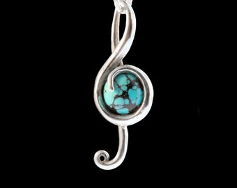 Treble Clef Necklace Music Note G Note Jewelry Bass Clef Pendant Cabochon Gemstone Jewelry Marching Band Gifts Gift for Musician Music Art