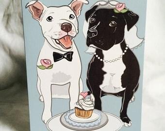 Wedding Pit Bulls - Greeting Card
