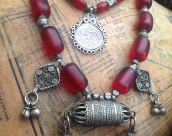 Small RARE Original Ethiopian cherry amber necklace with silver coin