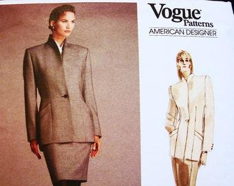 80s Vogue Pattern designer Calvin Klein Misses Size 12 Bust 34 UNCUT Womens Below Hip Jacket, Tapered Skirt