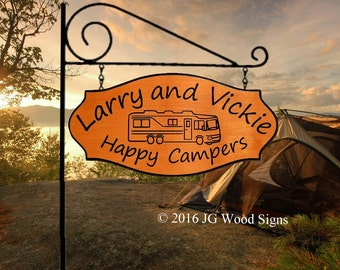 RV Name Sign  - Happy Campers -  Custom Carved Family Name Wood Camp Sign with Sign Holder
