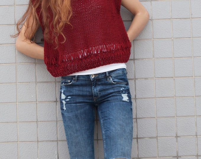 Hand knit woman cotton sweater  Burgundy Tank loose knit cropped Tank wine pullover crop vest