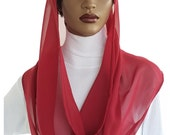 Kaatnu™ Veil Rich Ruby Chiffon Veil Liturgical Veil Devotional Veil Christian Veil Catholic Headcovering Chapel Veil Mass Veil Handmade