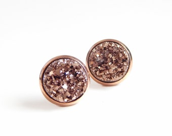 Rose gold druzy post earrings set in plated rose gold 12mm
