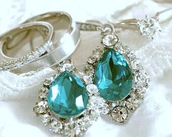 Something Blue Bridal Earrings, Turquoise Bridal Jewelry, Swarovski Wedding Earrings, Crystal Drop Wedding Jewelry, Bridesmaid Gift, BIJOUX