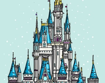 Disneyland Castle - Cinderella's Castle - A4 Art Print by Hungry Designs