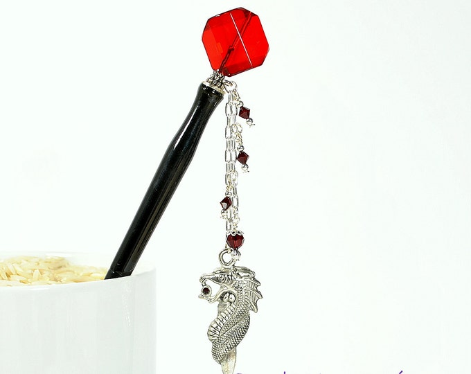 "Dragon Hair Stick Charm Hairstick Geisha Hairstick Red Hair Pin Dragon Jewelry - ""Dragon Fire"""