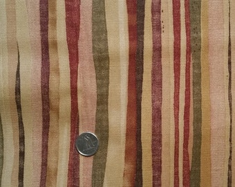 BR005 ~ Brown stripes Duck Canvas fabric Squiggly stripes Burgundy stripes