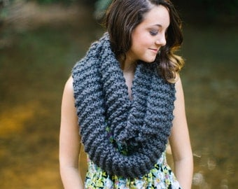 SALE - READY to SHIP - Ready to ship Charcoal Extra Long Infinity Scarf