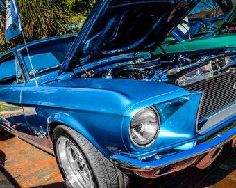 1968 Ford Mustang Car Photography, Automotive, Auto Dealer, Muscle, Sports Car, Mechanic, Boys Room, Garage, Dealership Art