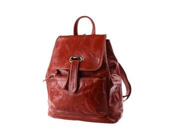 SALE - leather backpack, orange, handbag, women, artoncrafts