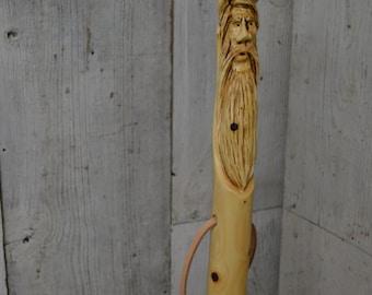 Double Carved Staff, Wood Spirit Walking Stick Carving, Hand Carved Morel Mushroom Hiking Stick, Wood Carvers of Etsy 1378