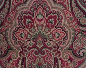 """Tapestry Vandelia 100 percent Cotton Fabric 54"""" wide Red Black Olive"""