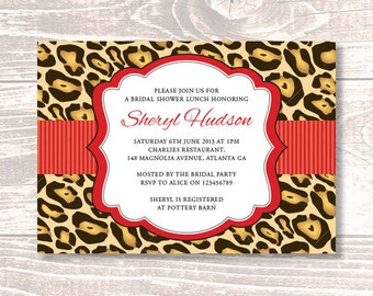 Bridal Shower or Party Invitation – DIY Printable Personalized – Leopard Label (Digital File)