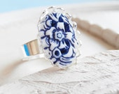 Nautical Blue and White Silver Ring - Vintage Cameo Ring